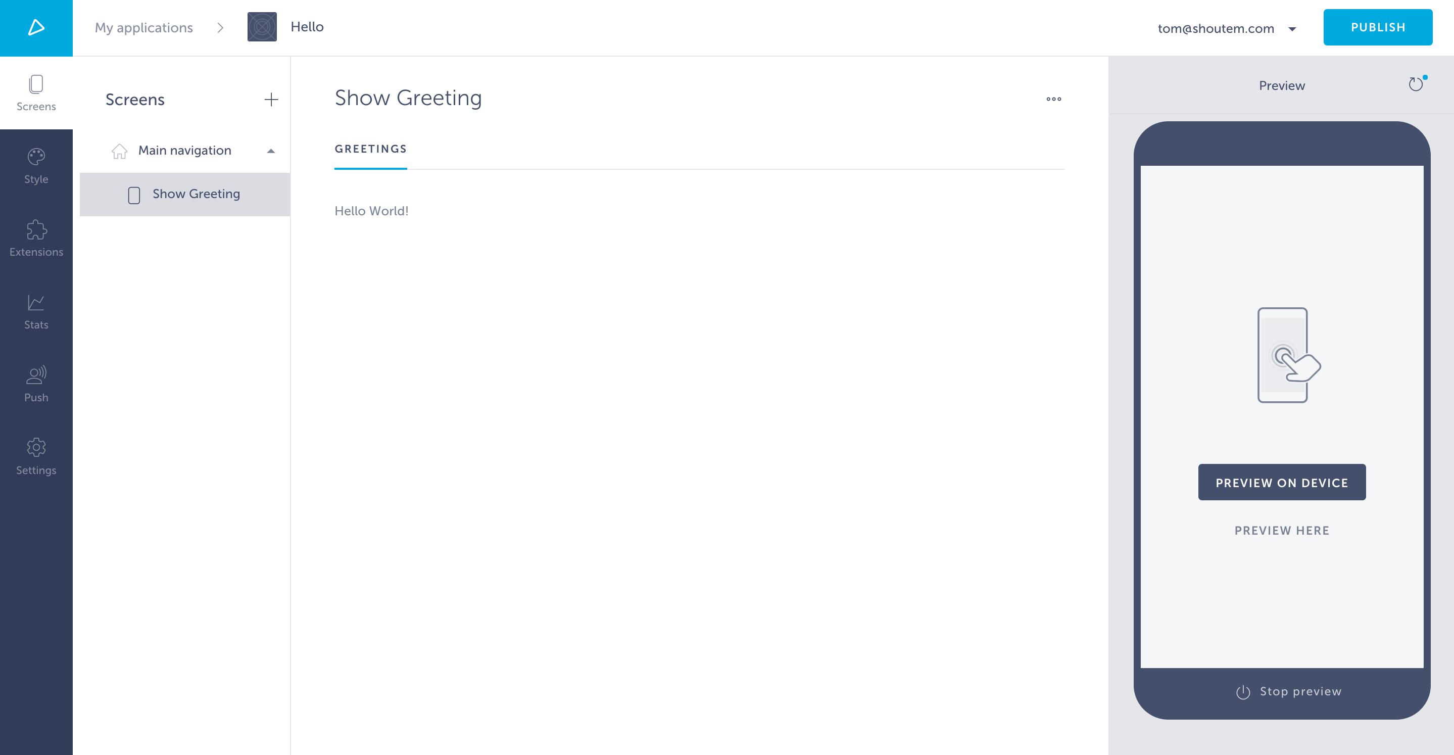 Hello World settings page