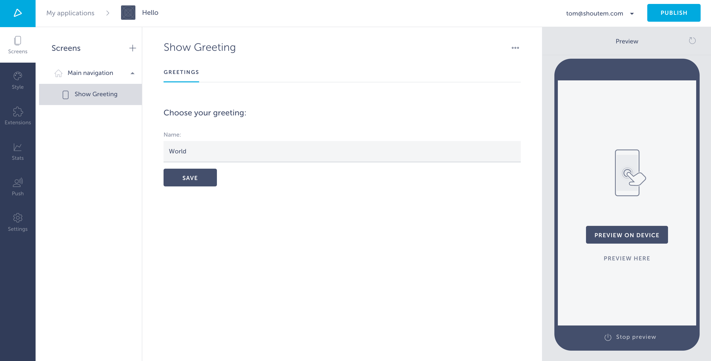 Page with default settings